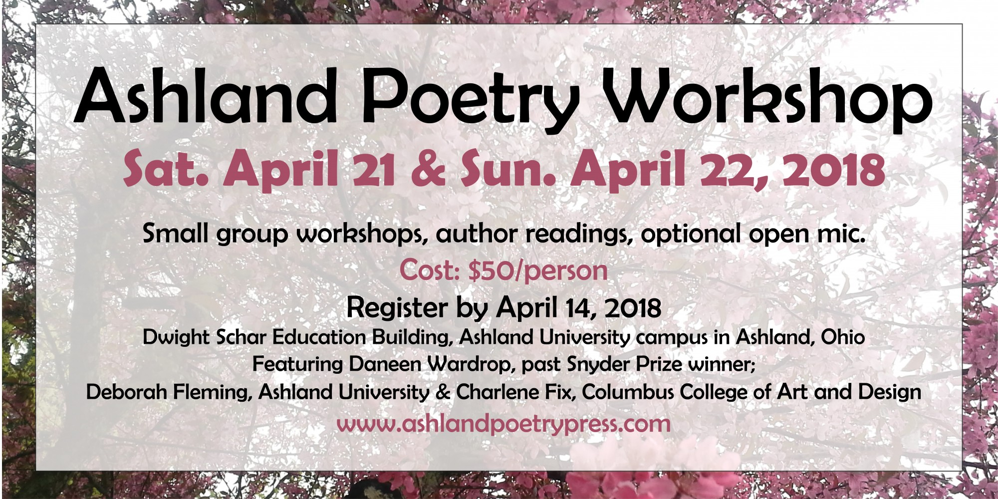 Spring Poetry Workshop Set for April 21 and 22